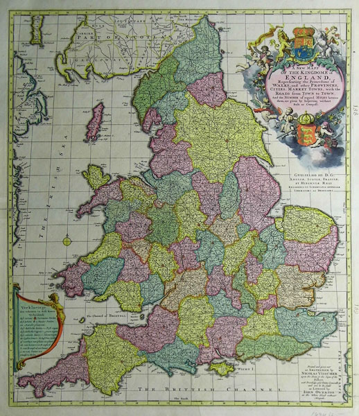 Road Map Of England And Wales With Towns.A New Mapp Of The Kingdome Of England Representing The Princedome Of